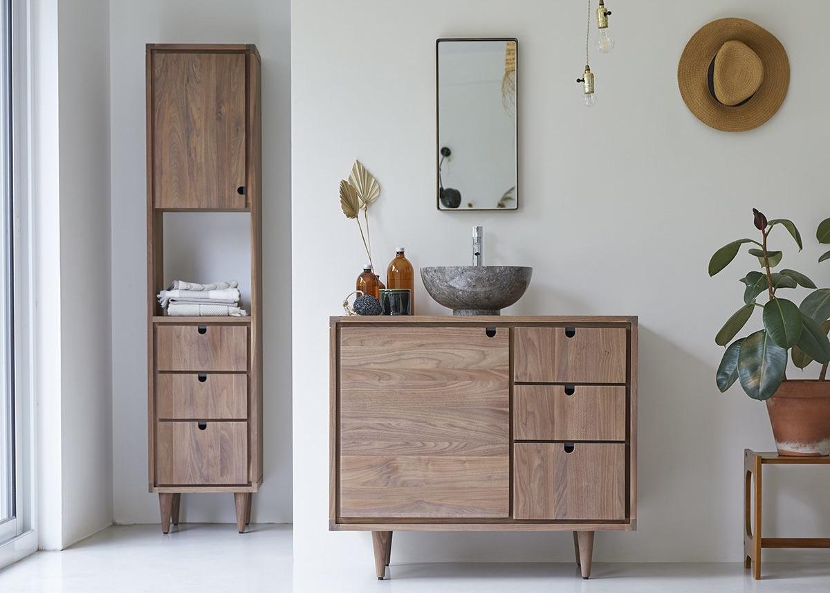 meuble salle de bains rétro bois style commode années 50
