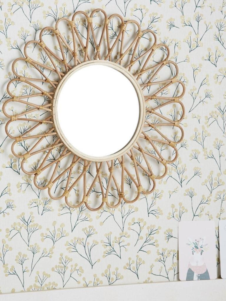 papier peint mimosa miroir fleur rotin - blog déco - clem around the corner