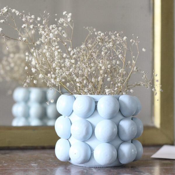 vase bulle blanc verre bois diy - blog déco - clem