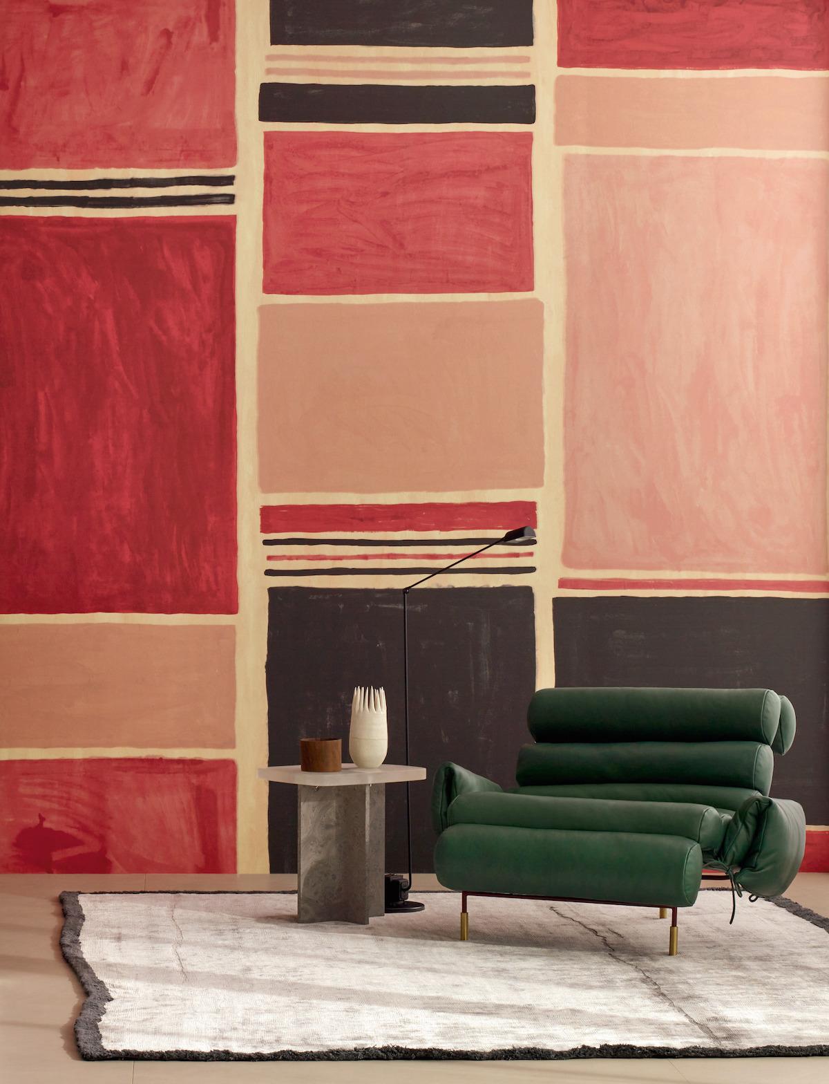Astéré déco salon rose rouge vert fauteuil design 60s boudin cuir