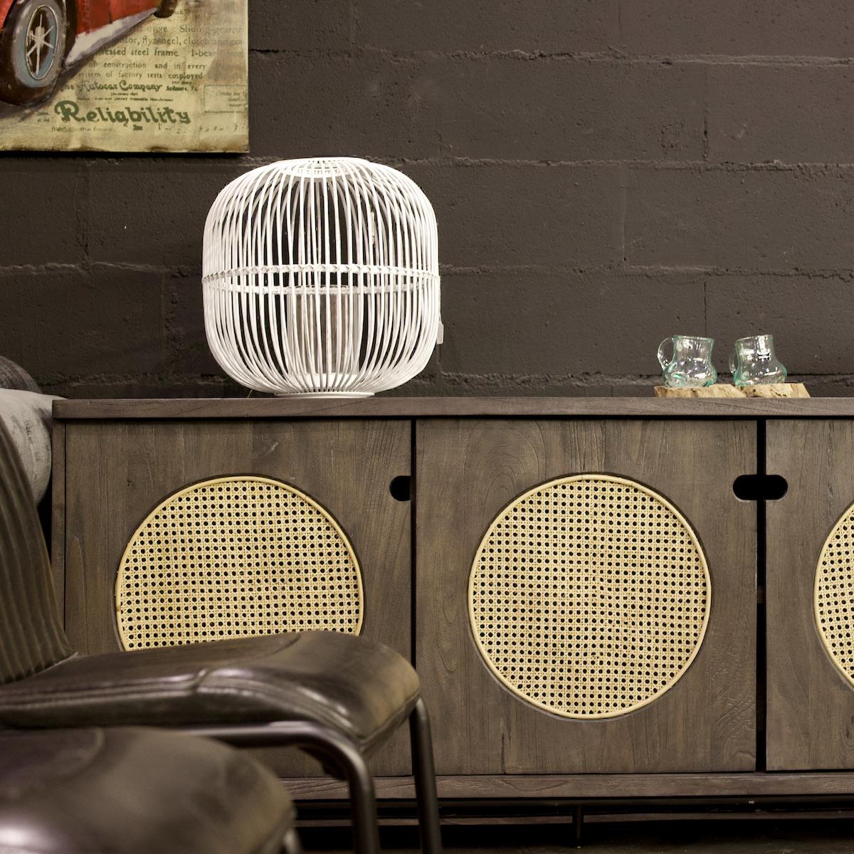 buffet noir bois brulé disque cannage - blog déco - clemaroundthecorner