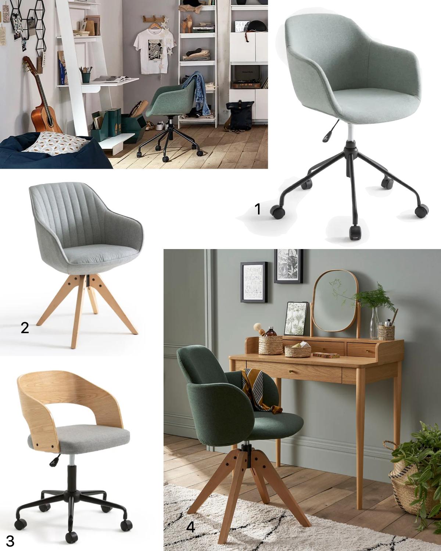 chaise fauteuil bureau rotatif design roulettes moderne chambre ado
