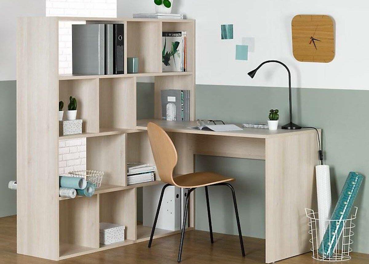 espace travail éco-responsable bureau bibliothèque angle made in France mur vert pastel