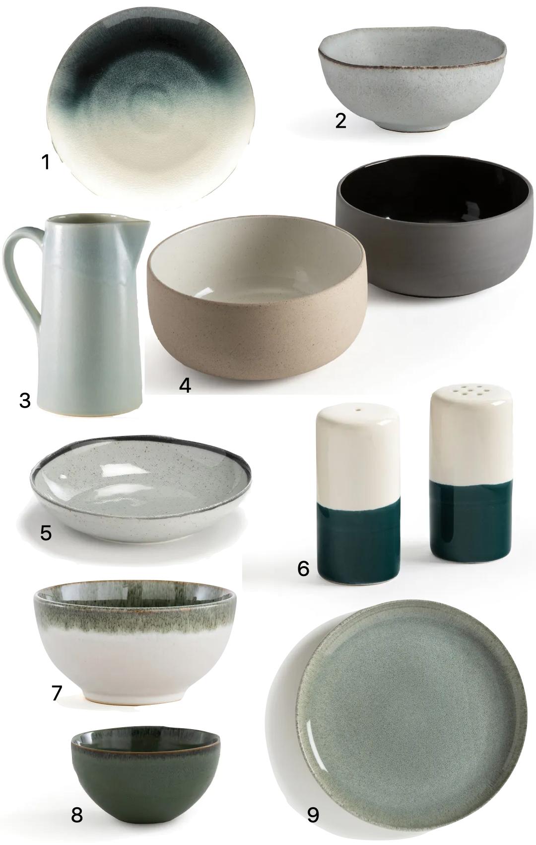 objet déco en céramique assiette bol grès moderne vert de gris céladon eau
