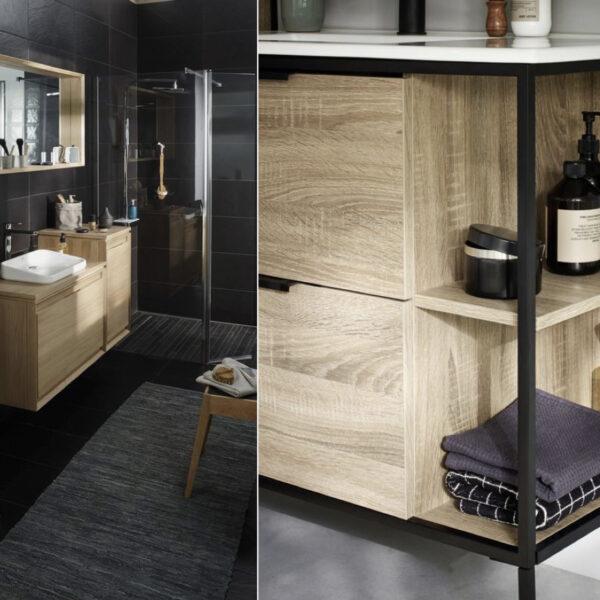 salle de bain noire et bois meuble design