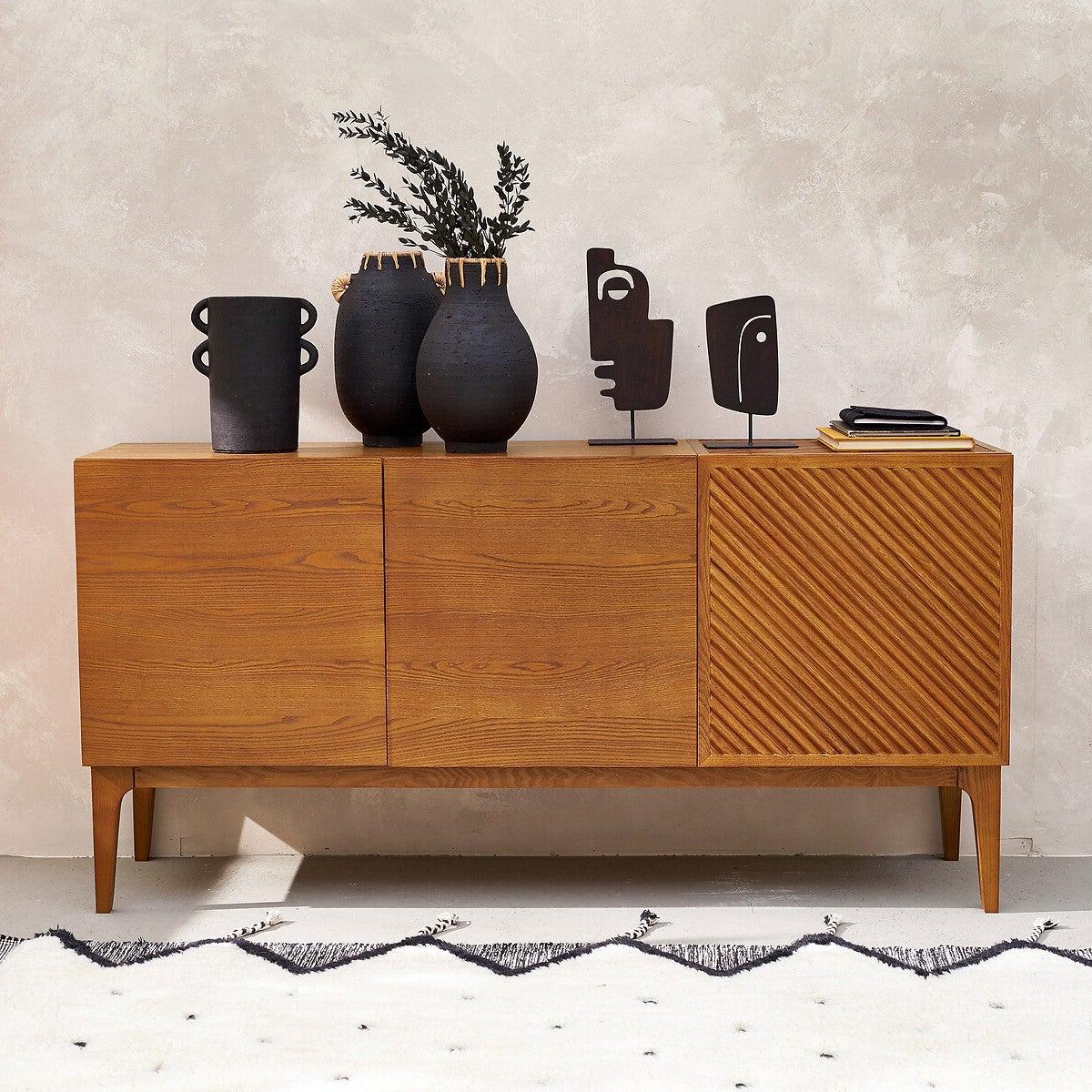 salon buffet bois massif design mid-century moderne 50s vase artisanal
