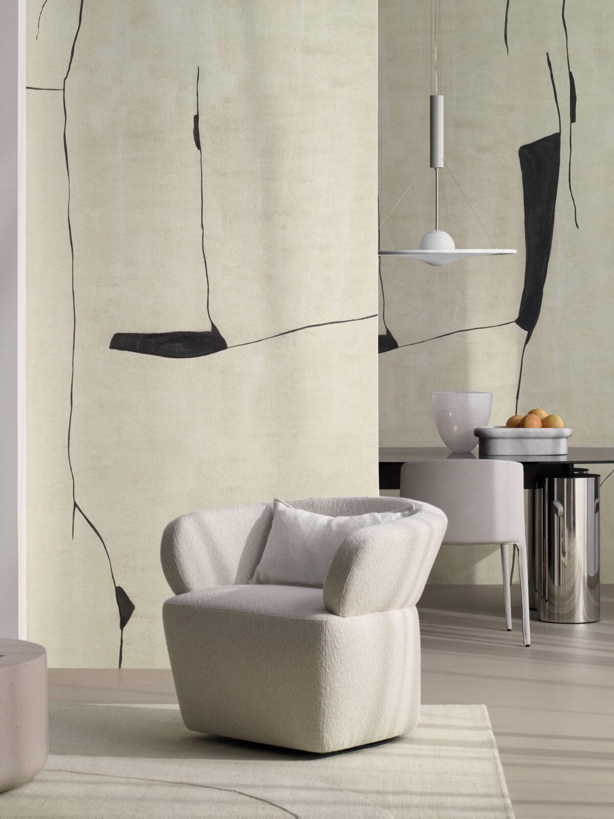 salon fauteuil bouclette papier-peint noir et blanc effet kintsugi