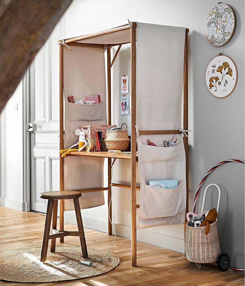 aménager espace de travail dans chambre enfant cabane