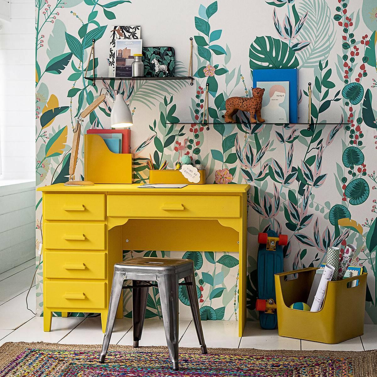 bureau jaune papier-peint végétal chambre colorée garçon