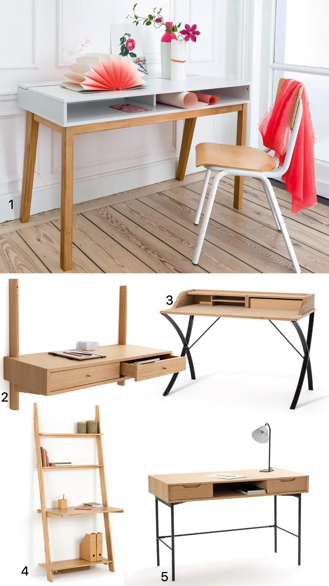 meuble bureau bois massif chambre enfant ado design