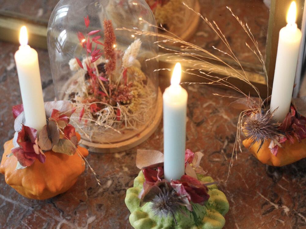 bougeoir citrouille fleurs séchées - blog création déco