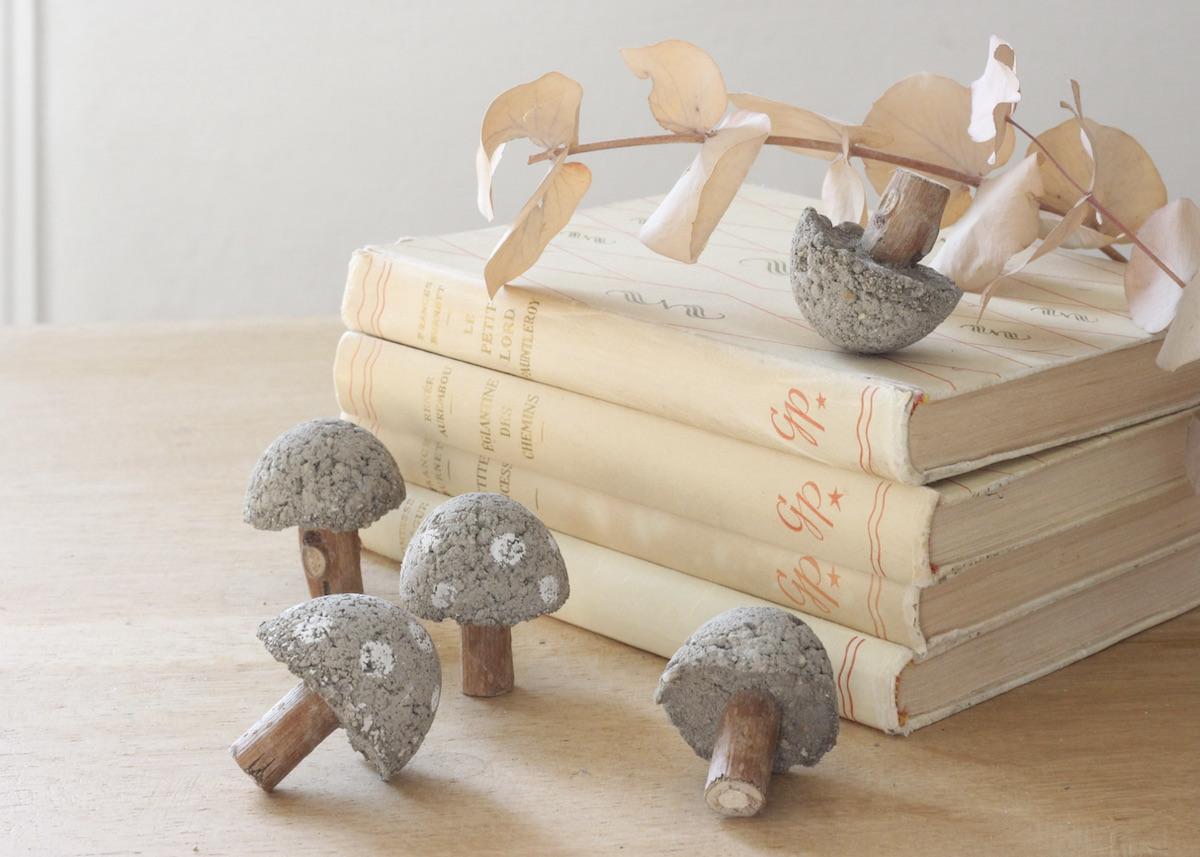 champignons en béton - blog déco diy